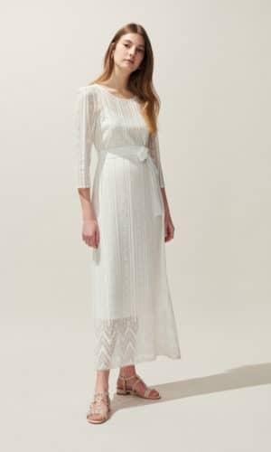 Claudie Pierlot - Robe Longue En Dentelle Ceinturée - Robe de mariée pas cher - The Wedding Explorer