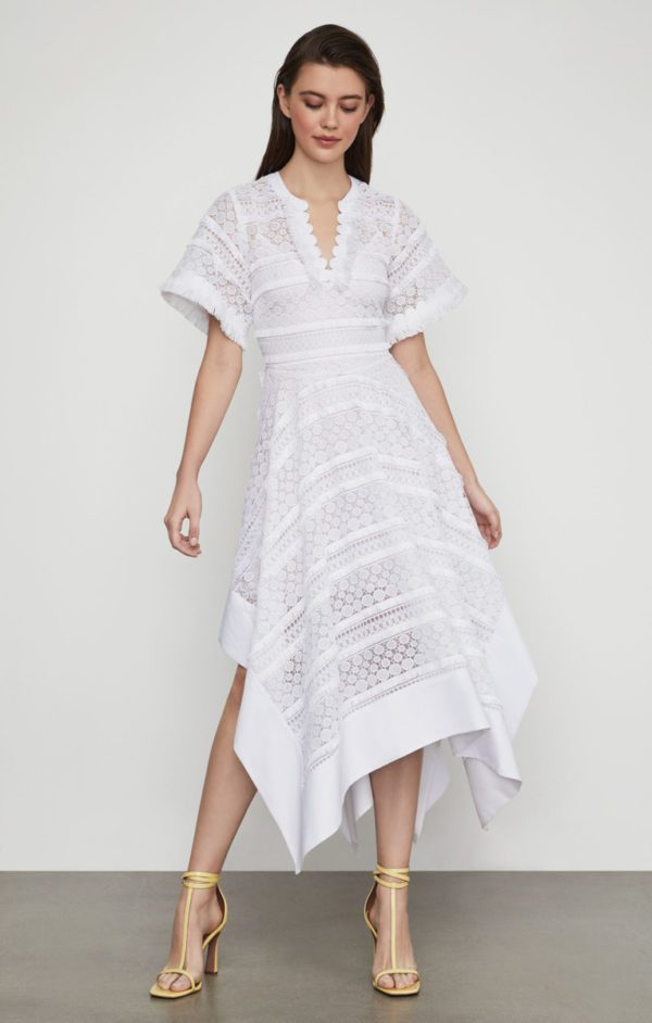 BCBG - Striped Dot Lace Asymmetric Dress - Robe de mariée pas cher - The Wedding Explorer
