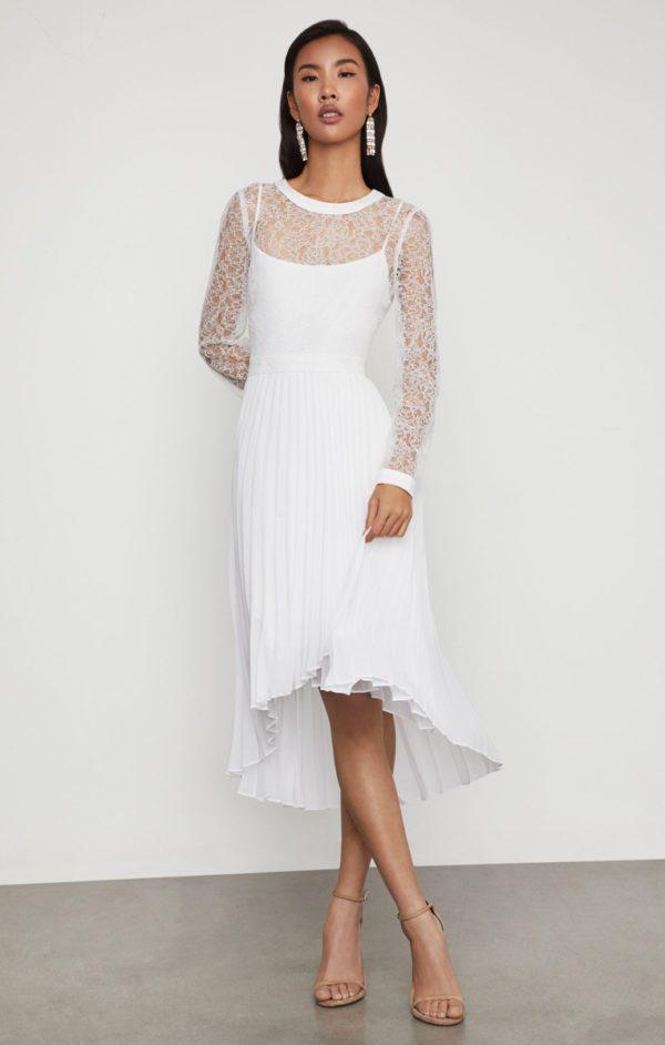BCBG - Asymmetrical Pleated Lace Dress - Robe de mariée pas cher - The Wedding Explorer