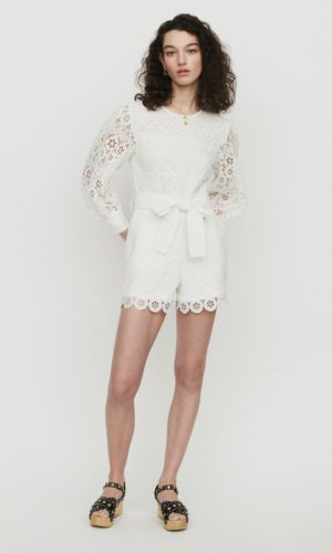 Maje - Combinaison short en guipure marguerites - Robe de mariée pas cher - The Wedding Explorer