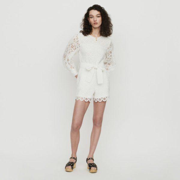 Maje - Combinaison short en guipure marguerites - Robe de mariée pas cher - The Wedding Explorer