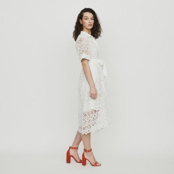 Maje - Robe midi en guipure marguerites - Robe de mariée pas cher - The Wedding Explorer