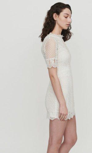 Maje - Robe courte en plumetis et dentelle - Robe de mariée pas cher - The Wedding Explorer