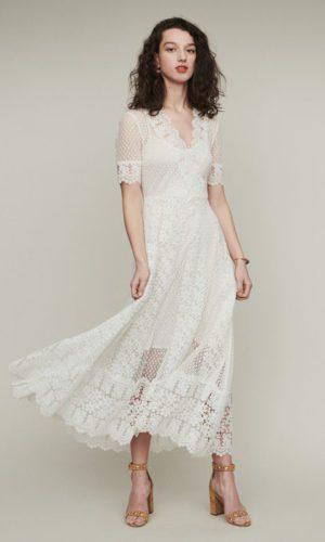Maje - Robe longue en plumetis et dentelle - Robe de mariée pas cher - The Wedding Explorer