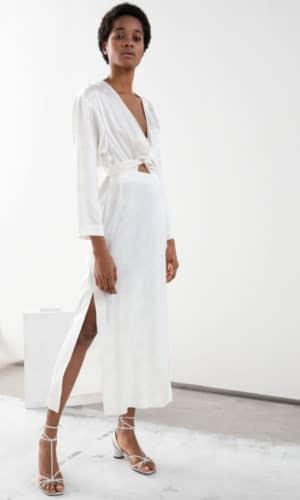& Other Stories - Floral Jacquard Overlapping Maxi Dress - Robe de mariée pas cher - The Wedding Explorer