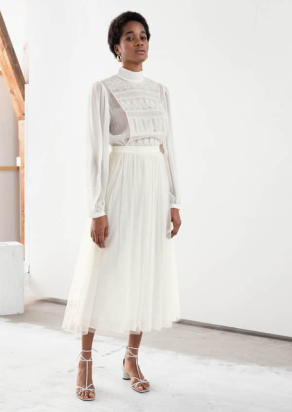 & Other Stories - Recycled Polyester Lace Midi Dress - Robe de mariée pas cher - The Wedding Explorer