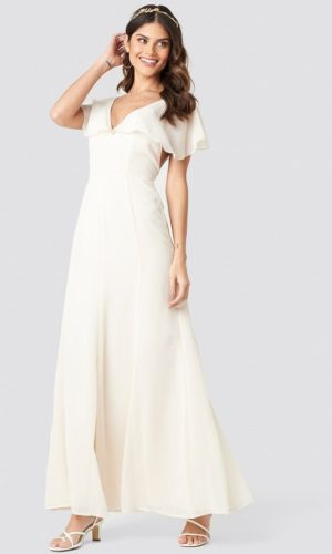 NA-KD - Back Detail Maxi Dress White - Robe de mariée pas cher - The Wedding Explorer