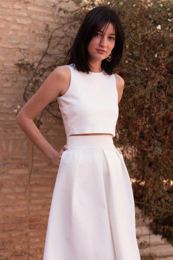 Maison Lemoine - Crop Top Clara Jersey - Robe de mariée pas cher - The Wedding Explorer