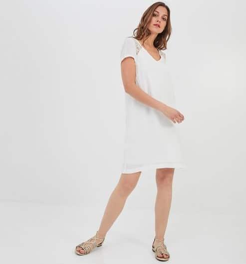 Promod - Robe courte dentelle et noeud - Robe de mariée pas cher - The Wedding Explorer