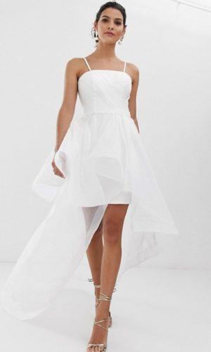 ASOS - Bariano - Robe de mariée courte avec traîne en organza - Robe de mariée pas cher - The Wedding Explorer