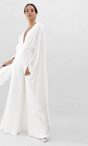 ASOS - Combinaison de mariage en satin à mancherons - Robe de mariée pas cher - The Wedding Explorer