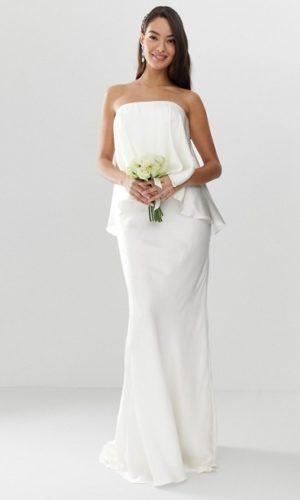 ASOS - Robe de mariée bandeau à superposition en satin et traîne - Robe de mariée pas cher - The Wedding Explorer