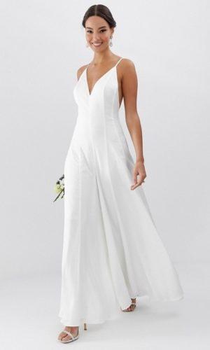 ASOS - Combinaison de mariée large en satin à fines bretelles - Robe de mariée pas cher - The Wedding Explorer