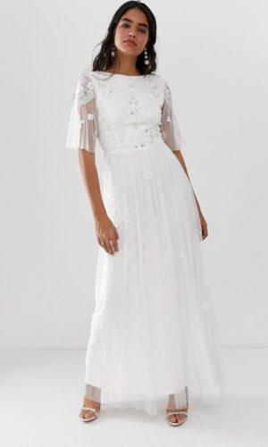 ASOS - Amelia Rose - Robe longue ornementée à manches transparentes - Robe de mariée pas cher - The Wedding Explorer