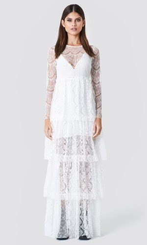 NA-KD - Long Sleeve Lace Dress White by Sahara Ray - Robe de mariée pas cher - The Wedding Explorer