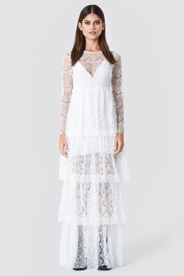 NA-KD - Long Sleeve Lace Dress White by Sahara Ray - Robe de mariée pas cher - The Wedding Explorer