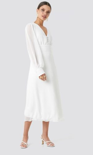 NA-KD - Button Detailed Midi Dress White by Trendyol - Robe de mariée pas cher - The Wedding Explorer