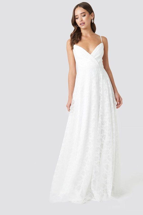 NA-KD - Double Breasted Neckline Evening Dress White by Trendyol - Robe de mariée pas cher - The Wedding Explorer
