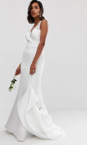 ASOS - Robe de mariage avec corsage en dentelle à ornements et jupe en crêpe - Robe de mariée pas cher - The Wedding Explorer