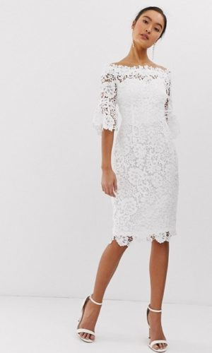 ASOS - Paper Dolls - Robe dentelle crochet à épaules dénudées avec manches à volants - Robe de mariée pas cher - The Wedding Explorer