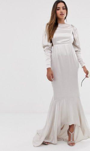 ASOS - Robe de mariage en satin avec ourlet en pointe et manches théâtrales - Robe de mariée pas cher - The Wedding Explorer
