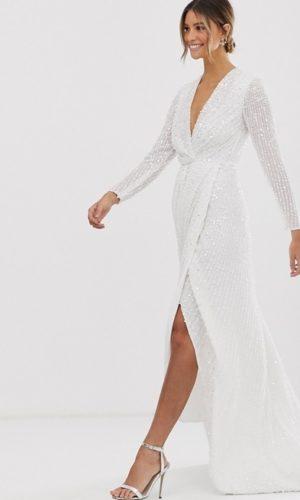 ASOS EDITION - Mariage - Robe cache-cœur plissée à décolleté plongeant et sequins - Robe de mariée pas cher - The Wedding Explorer