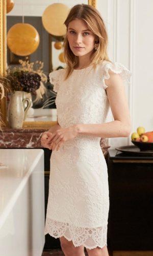 BALZAC PARIS x LA REDOUTE - Robe de mariée Marguerite courte sans manches en guipûre - Robe de mariée pas cher - The Wedding Explorer