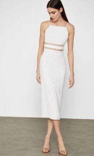 BCBG - Organdy Trim Midi Dress - Robe de mariée pas cher - The Wedding Explorer