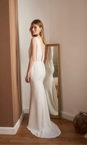 BALZAC PARIS x LA REDOUTE - Robe de mariée Romy longue sans manches avec traîne - Robe de mariée pas cher - The Wedding Explorer