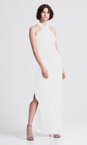 HALSTON - ICONIC CROSS NECK CREPE GOWN - Robe de mariée pas cher - The Wedding Explorer