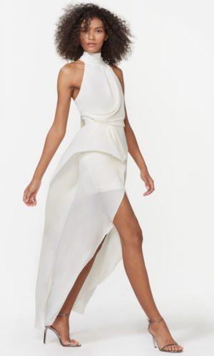 HALSTON - SLEEVELESS MOCK NECK GOWN - Robe de mariée pas cher - The Wedding Explorer