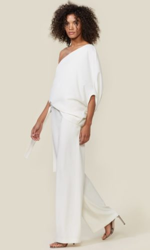 HALSTON - ONE SHOULDER JUMPSUIT - Robe de mariée pas cher - The Wedding Explorer