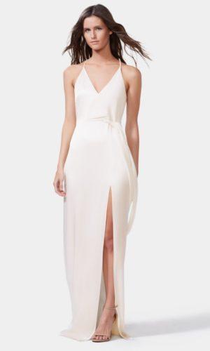 HALSTON - SATIN WRAP GOWN - Robe de mariée pas cher - The Wedding Explorer