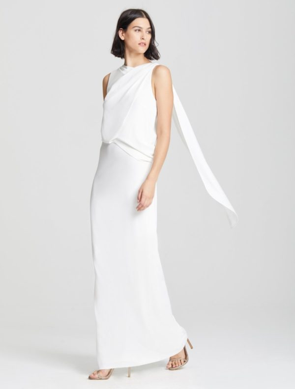 HALSTON - ASYMMETRIC DRAPE GOWN - Robe de mariée pas cher - The Wedding Explorer