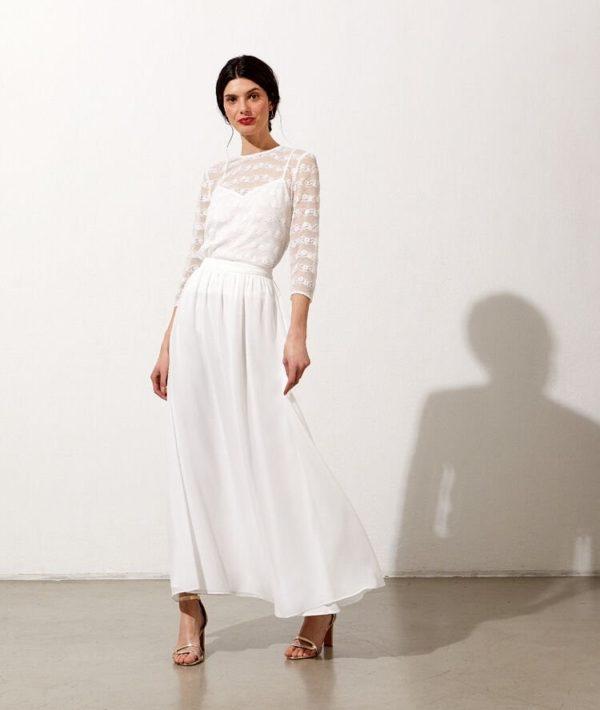 Etam - Jupe longue en mousseline - Robe de mariée pas cher - The Wedding Explorer