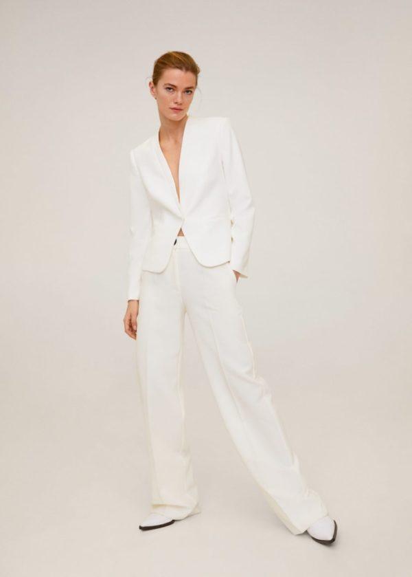 MANGO - Tailleur pantalon blanc cassé - Robe de mariée pas cher - The Wedding Explorer