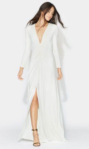 HALSTON - LONG SLEEVE RUCHED FRONT GOWN - Robe de mariée pas cher - The Wedding Explorer