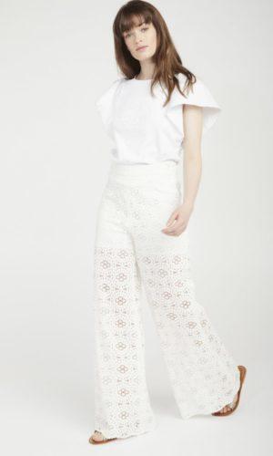NAF NAF - Pantalon de mariage large dentelle blanc - Robe de mariée pas cher - The Wedding Explorer