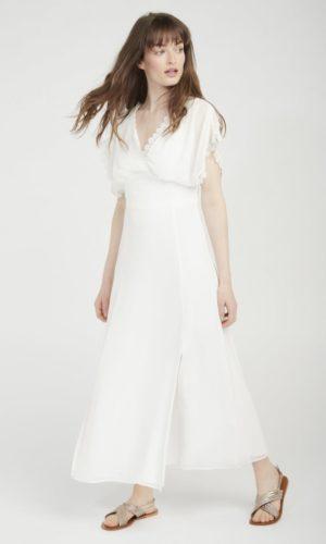 NAF NAF - Robe de mariée longue détails col ecru - Robe de mariée pas cher - The Wedding Explorer