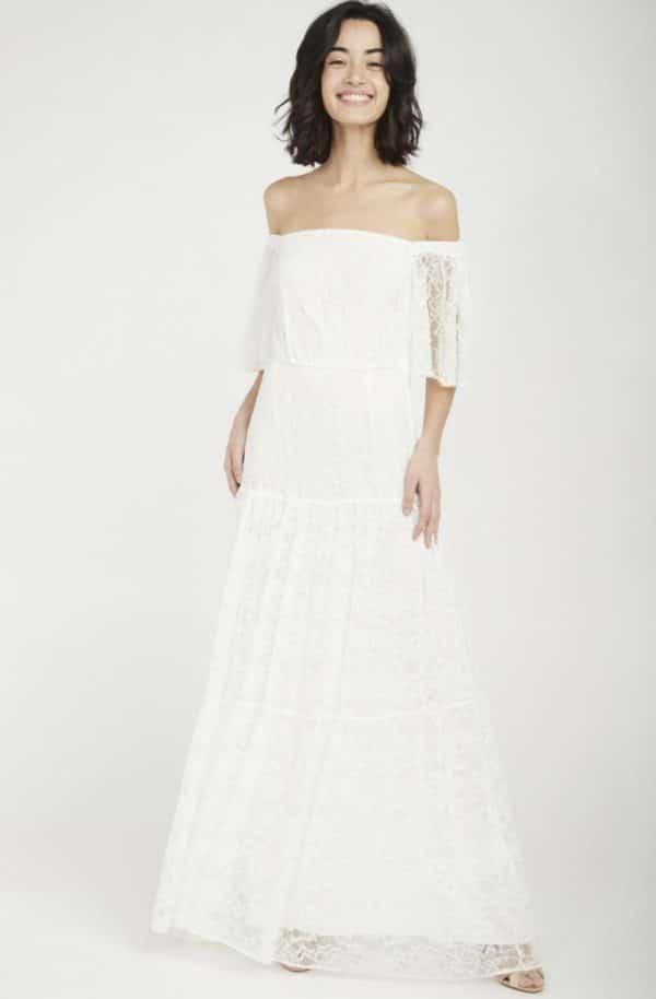 NAF NAF - Robe de mariée en dentelle manches courtes - Robe de mariée pas cher - The Wedding Explorer