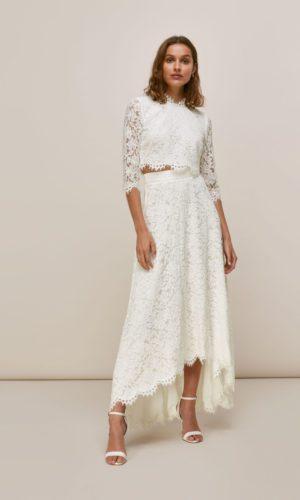 Whistles - ARIANE LACE WEDDING CROP TOP AND SKIRT - Robe de mariée pas cher - The Wedding Explorer