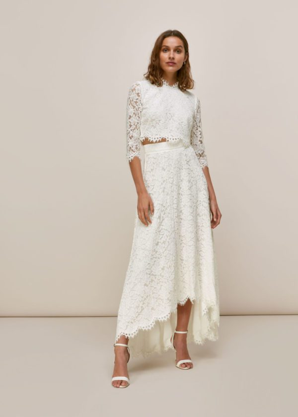 Whistles - ARIANE LACE WEDDING CROP TOP AND SKIRT - Robe de mariée pas cher - The Wedding Explorer